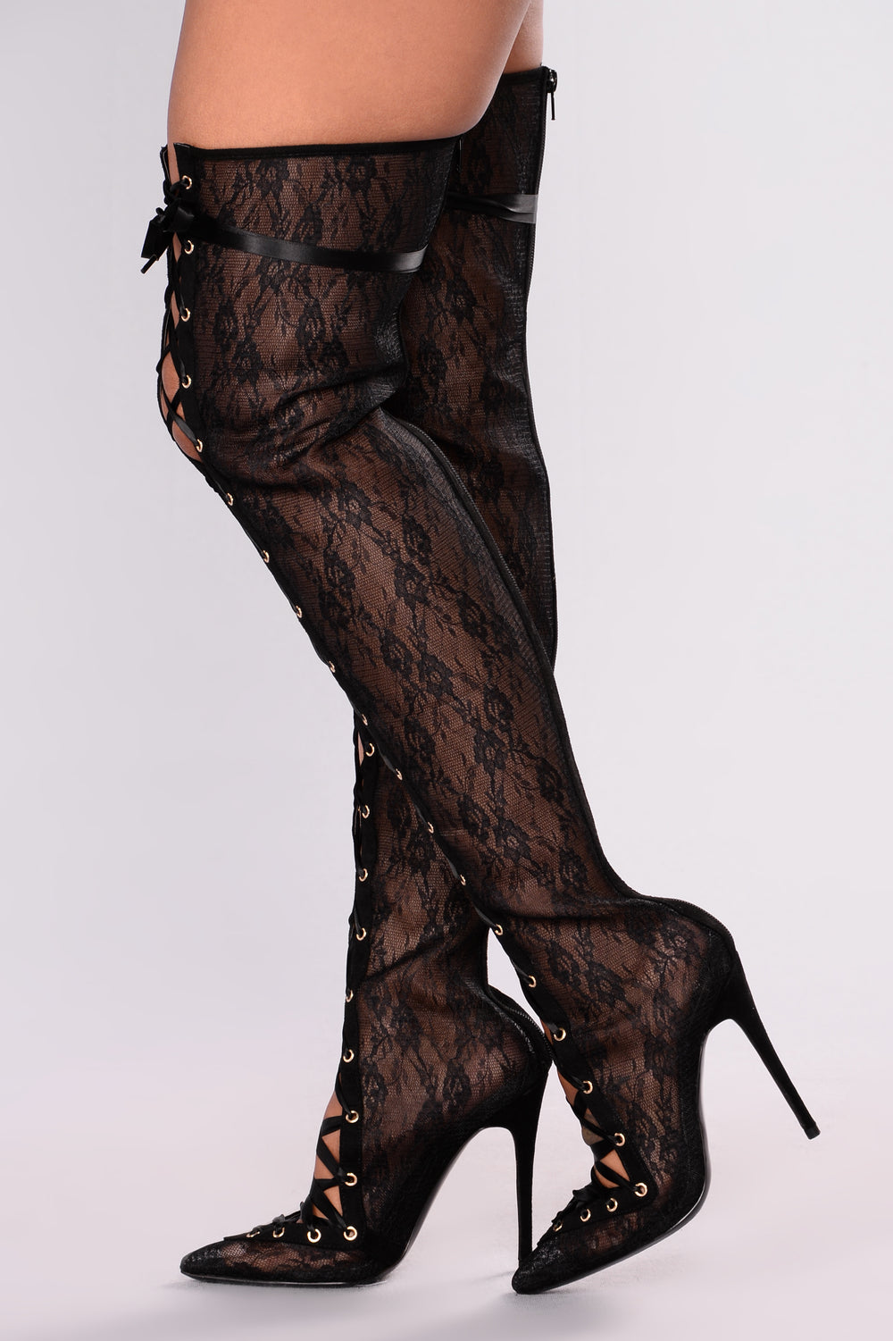 Lady In Lace Over The Knee Boot - Black