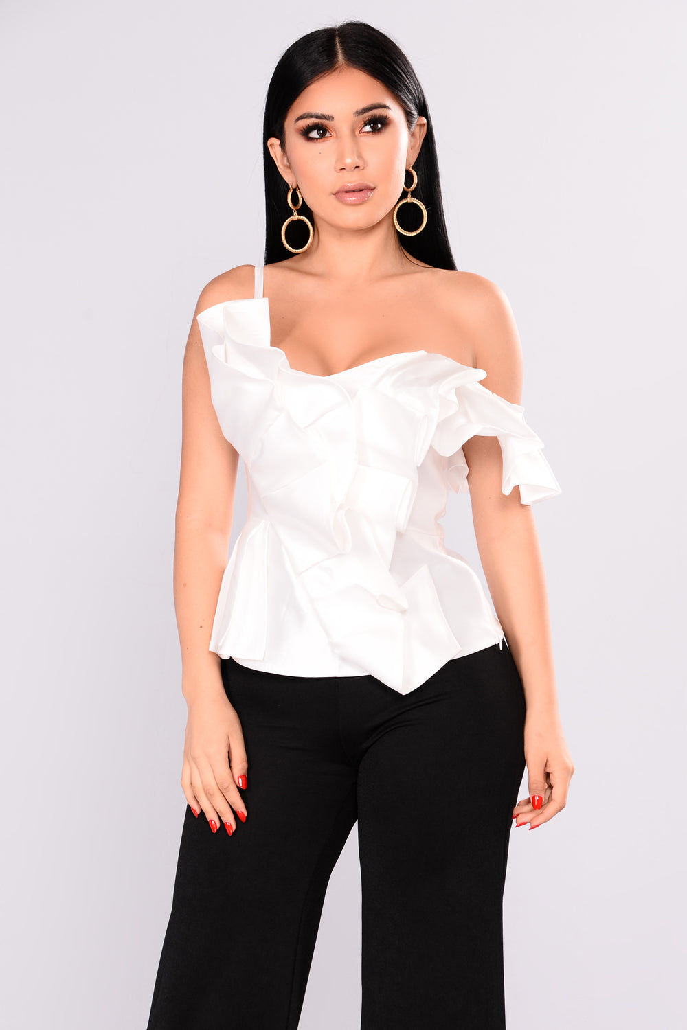 Marlow Ruffle Top - Ivory