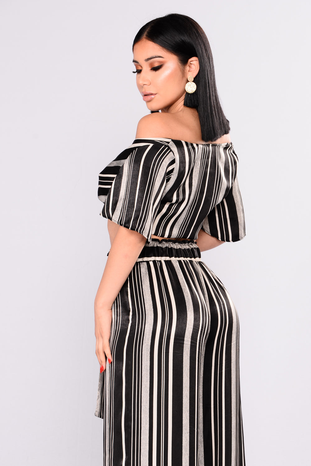 Adrika Stripe Top - Black/Ivory