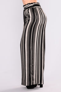 Adrika Stripe Pants - Black/Ivory