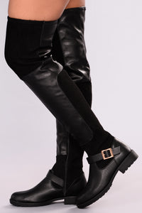 Out and About Combat Boots - Black Angle 1