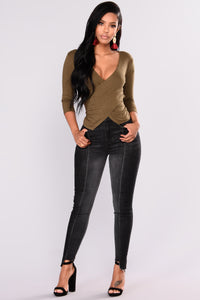 Cibelle Ribbed Top - Olive