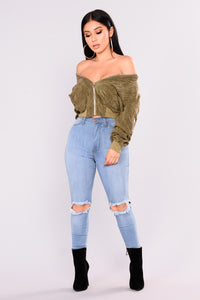 Lets Do It Again Corduroy Bomber - Olive