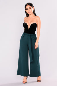 Lucy Waist Tie Pants - Hunter Green