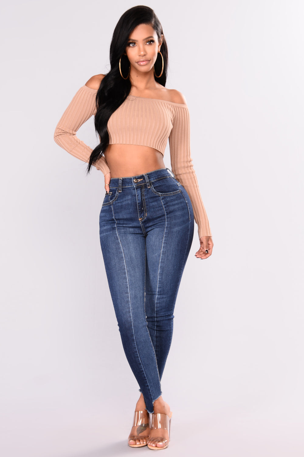 Brooklyn Off Shoulder Crop Top - Mocha