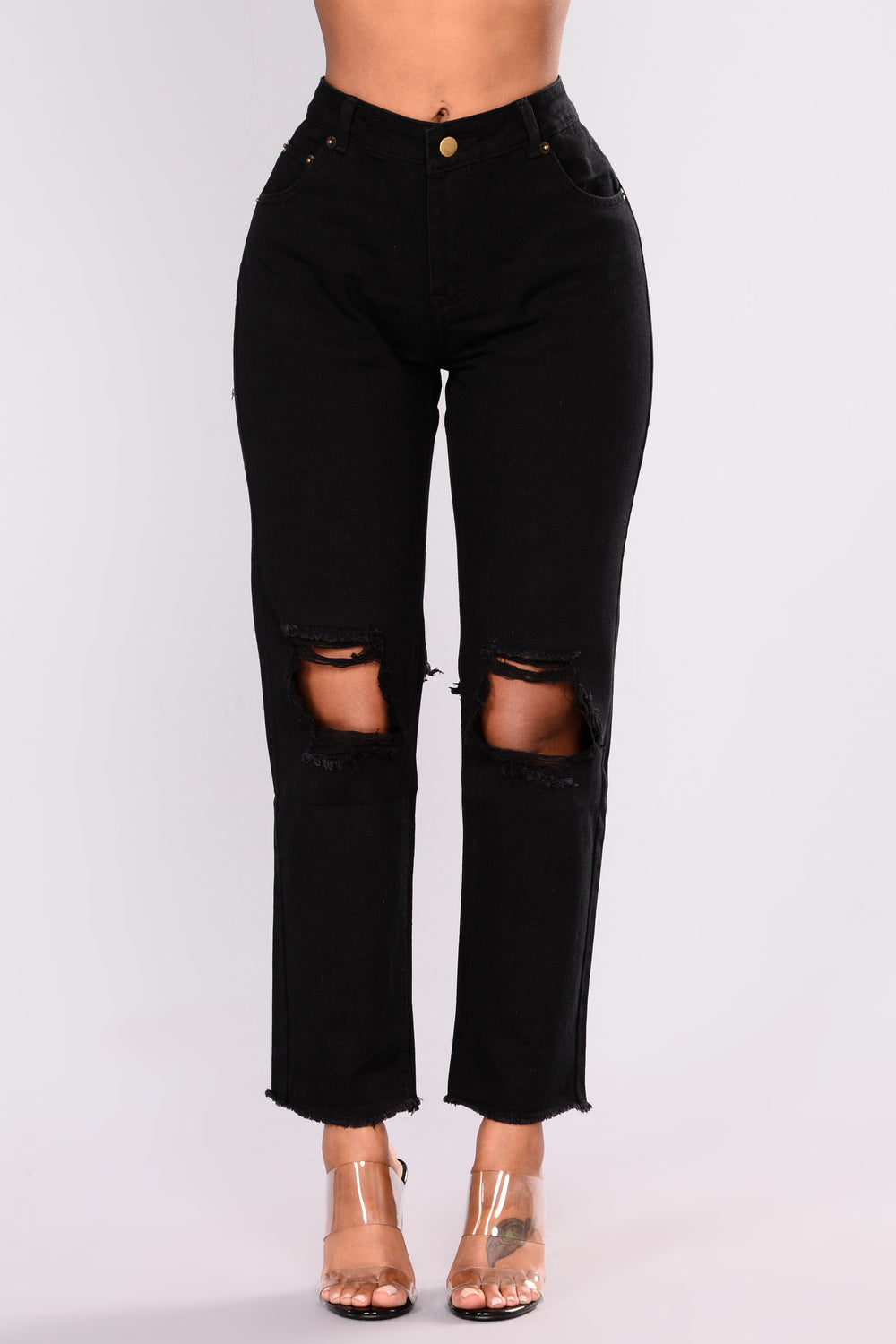 Distressed Is More Boyfriend Jeans - Black