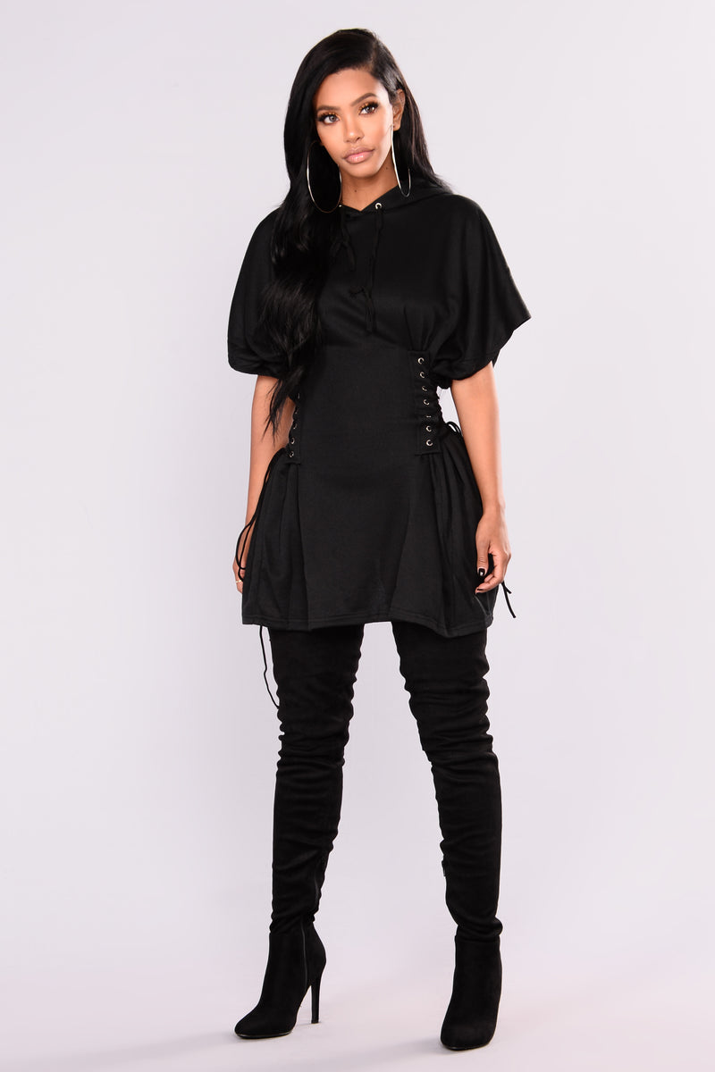 Act On It Hooded Tunic - Black