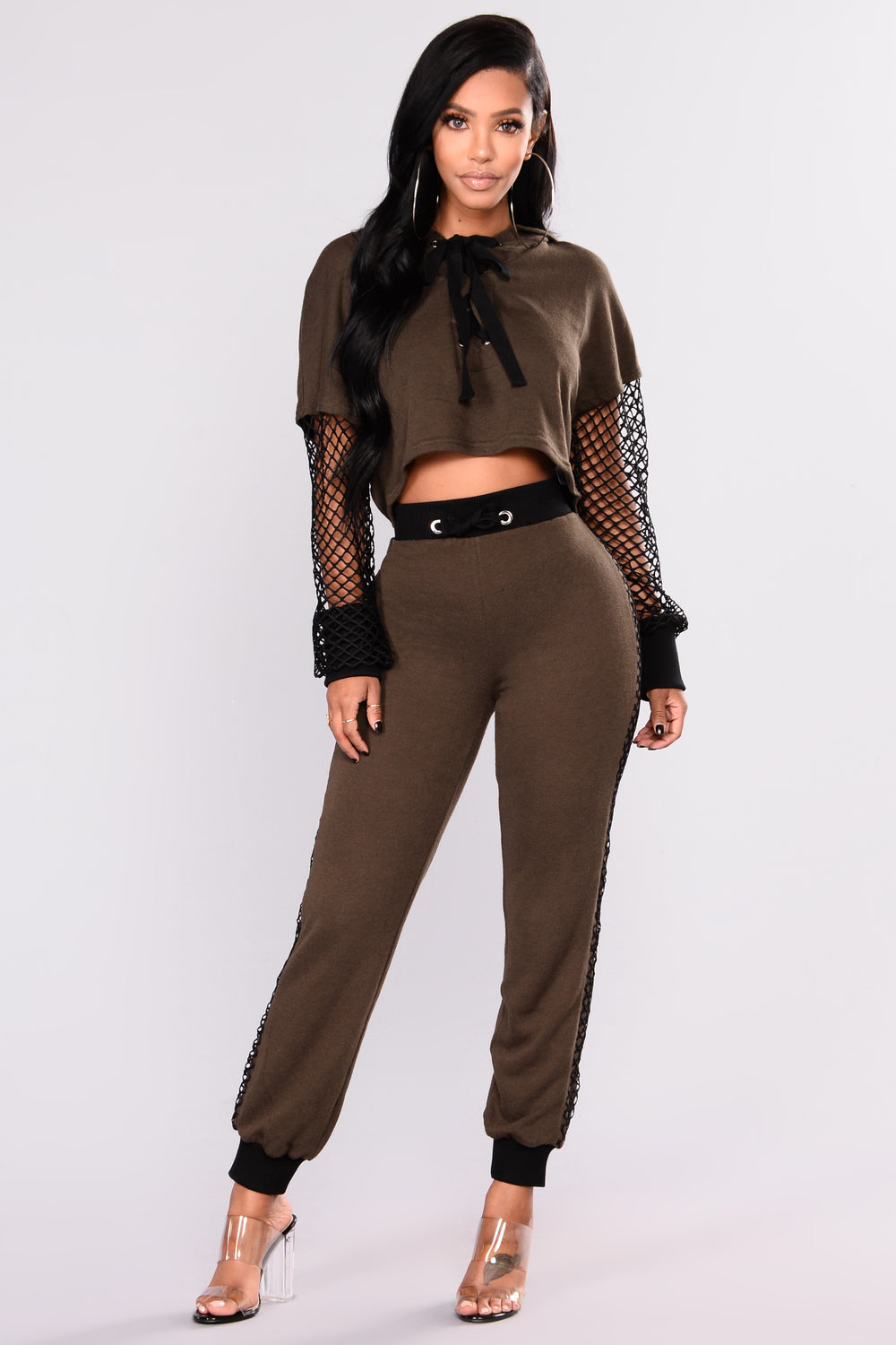 Tracy Mesh Top - Olive