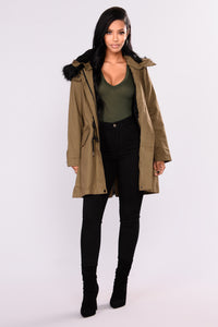 Roxanna Hooded Utility Jacket - Olive
