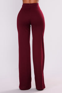 Over Sized Zipper Pants - Wine