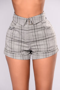 Akira Checkered Shorts - Grey Angle 2