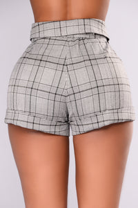 Akira Checkered Shorts - Grey Angle 4