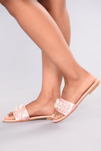 Satin Pearl Slide - Pink