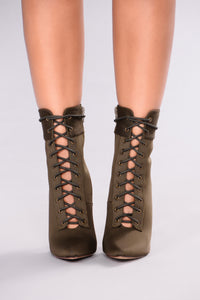 Shine Bright Booties - Olive Angle 3