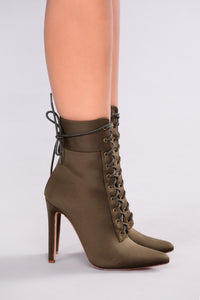 Shine Bright Booties - Olive Angle 4