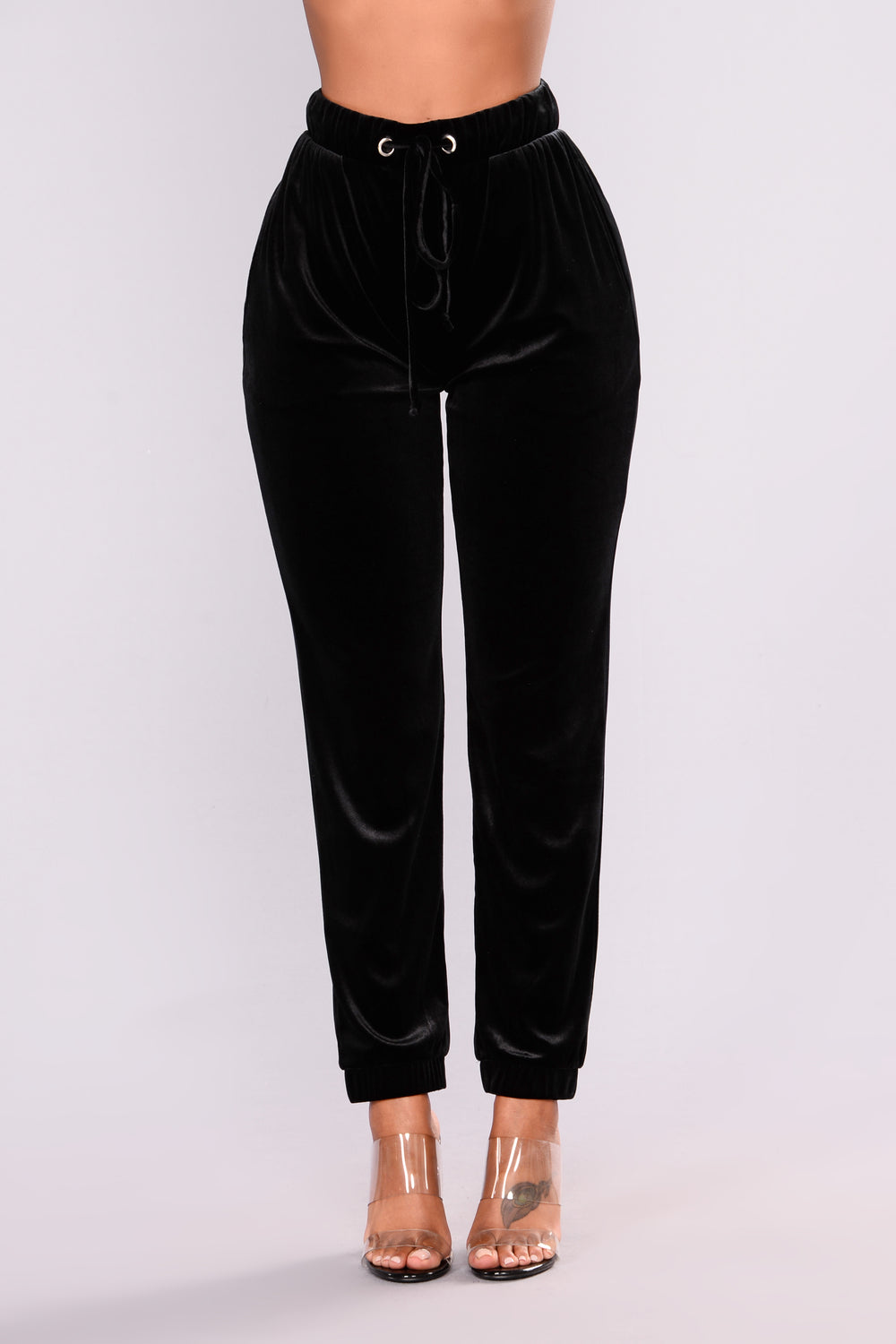 Cathy Velvet Jogger Pants - Black
