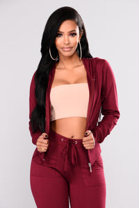 Easy Breezy Lounge Set - Burgundy