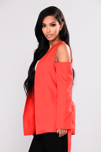 Own It Cold Shoulder Jacket - Red