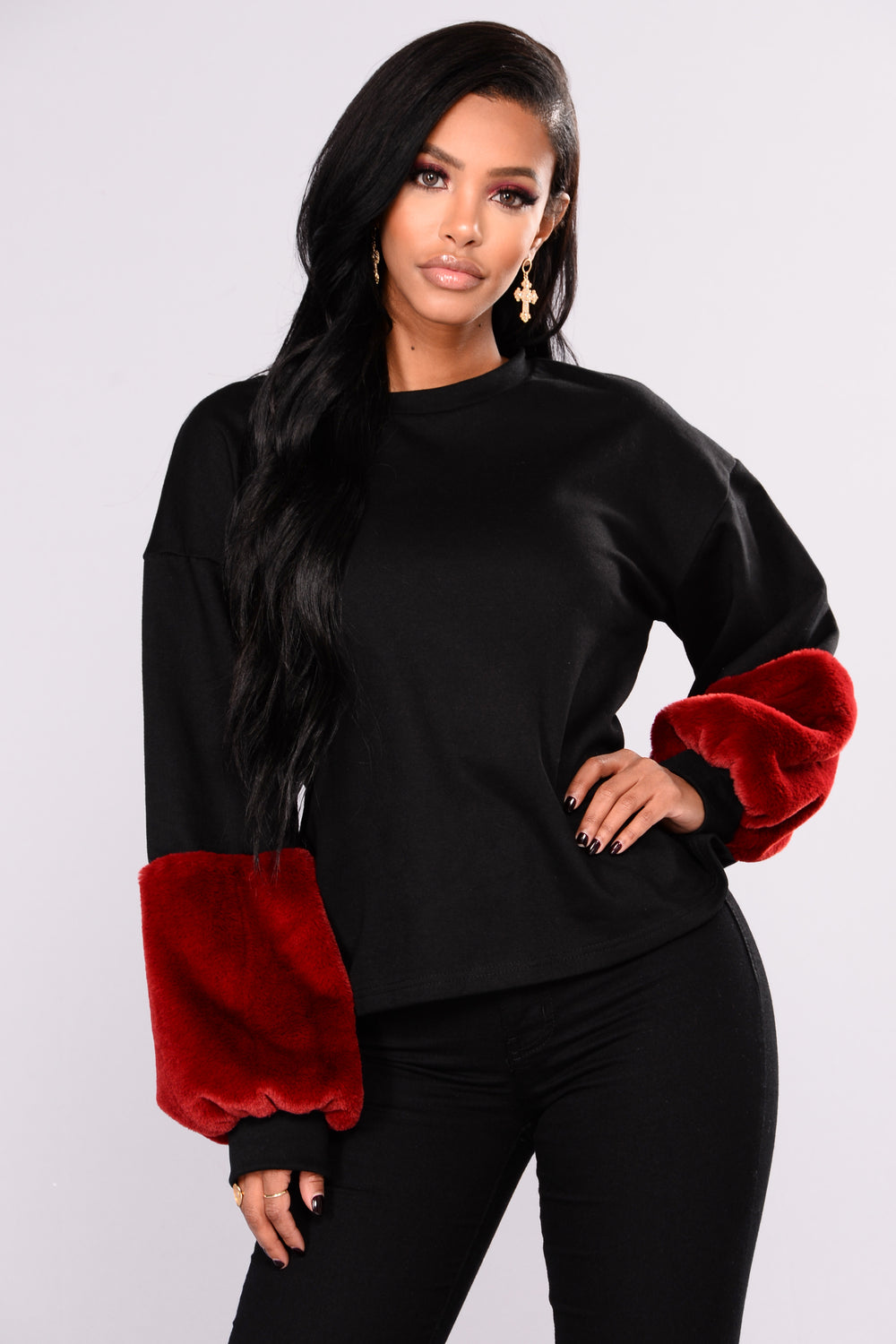 Rae Faux Fur Sweatshirt - Black/Burgundy