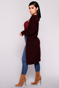 Fiona Marled Sweater Cardigan - Burgundy