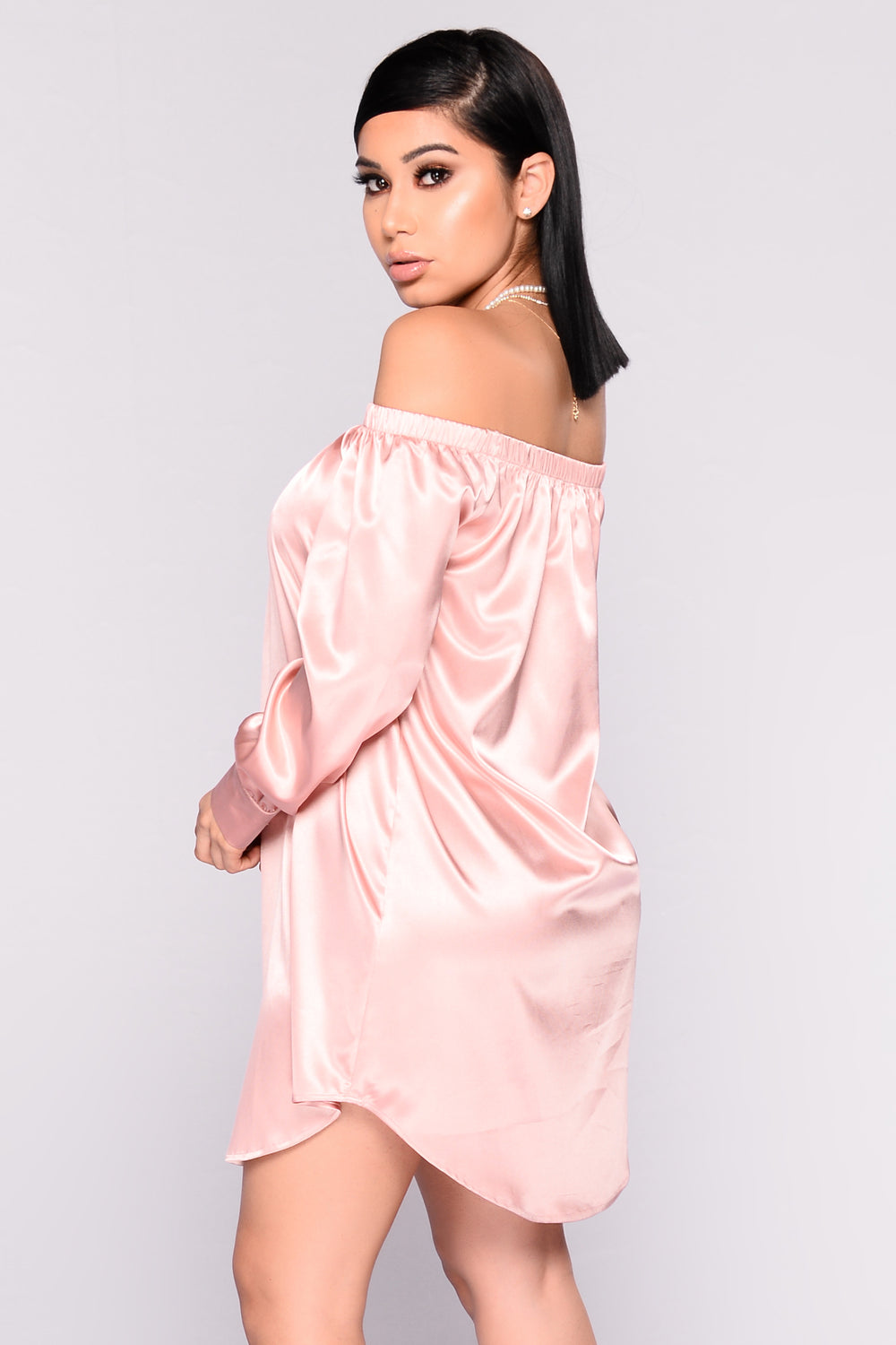 Say Hello Satin Dress - Dusty Pink