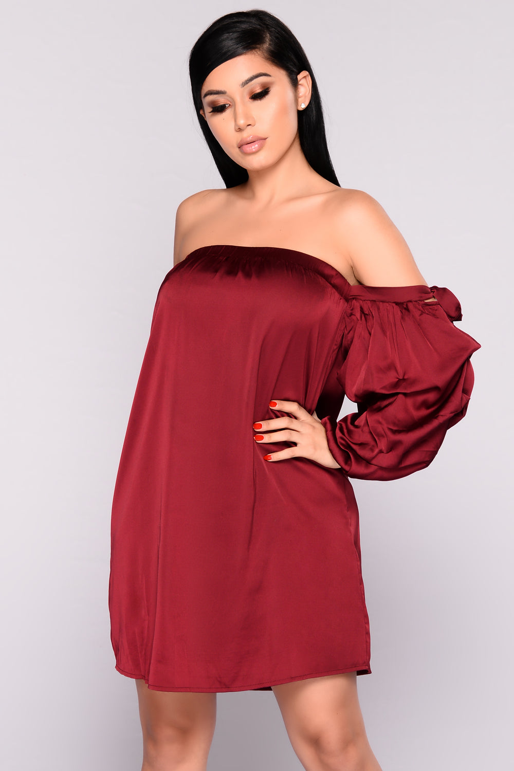 Go With The Flowy Satin Dress - Wine