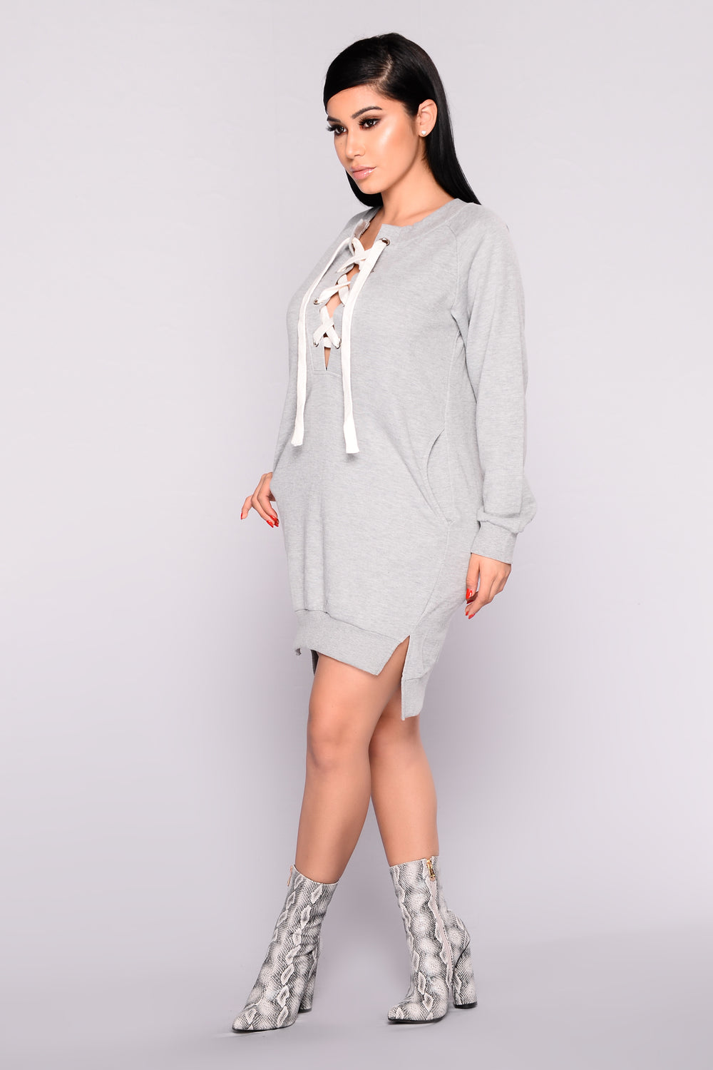 Run For It Lace Up Tunic - Heather Grey