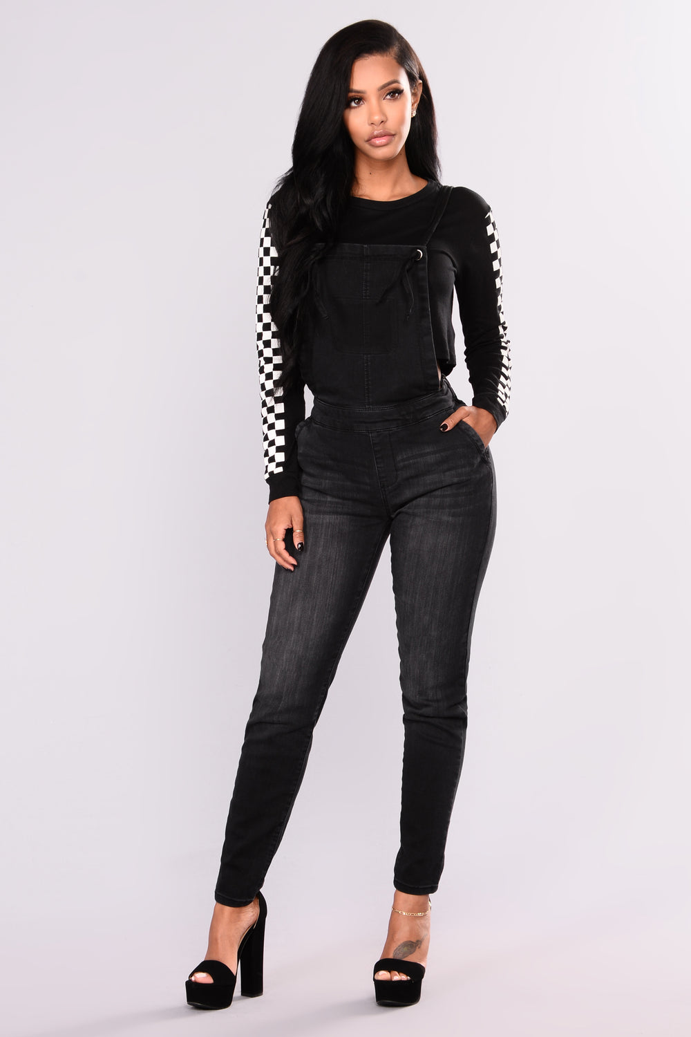 Nia Checked Top - Black