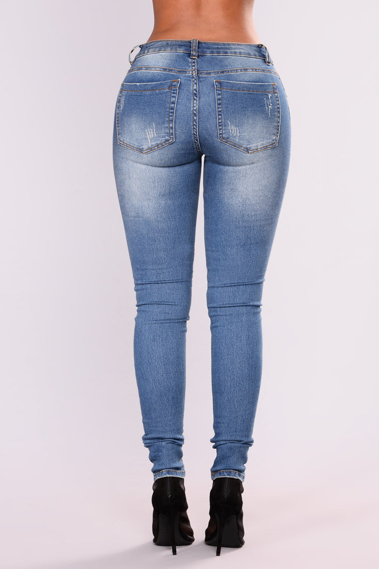 Just A Sliver Skinny Jeans - Medium Blue Wash