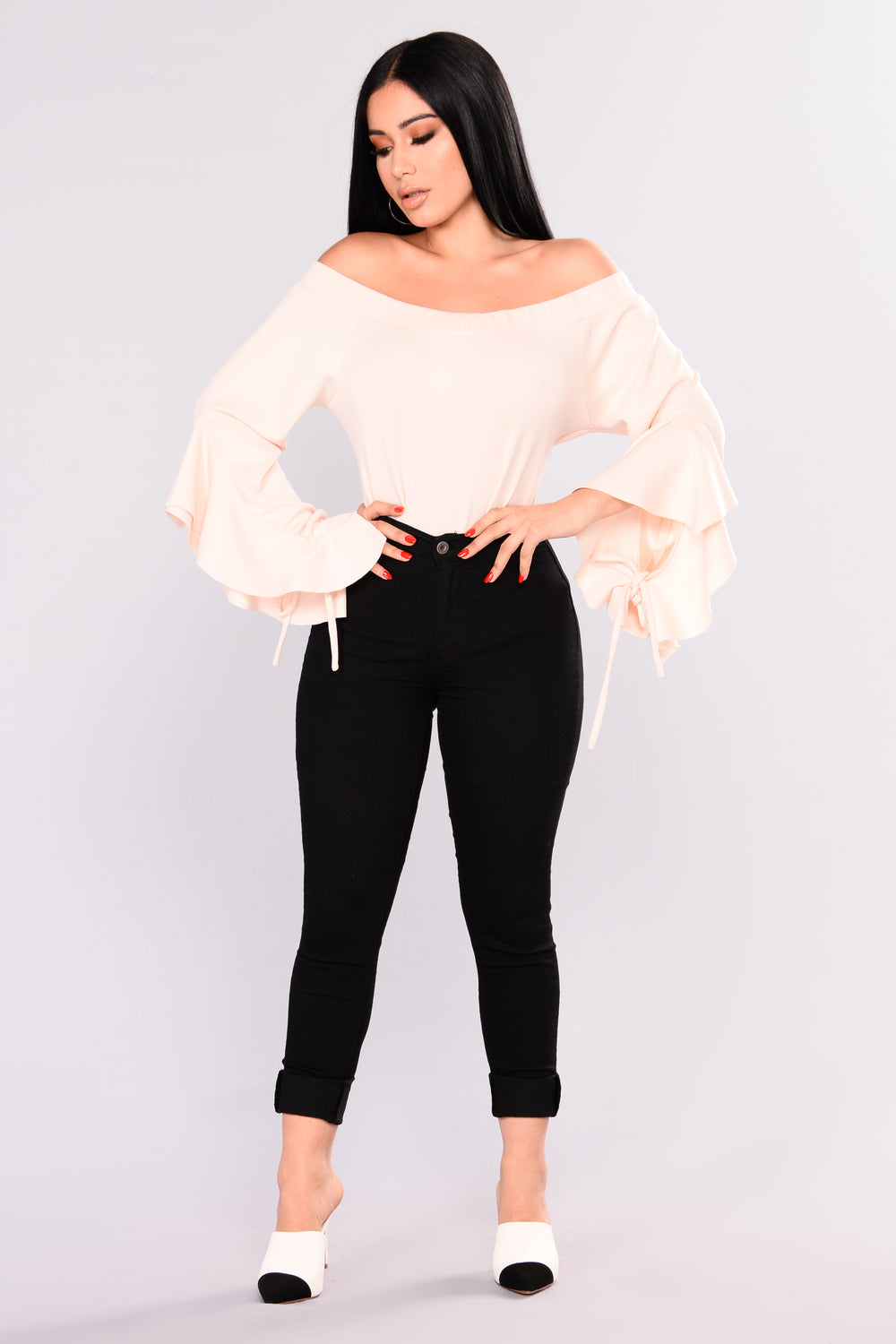 Oriana Off Shoulder Top - Nude
