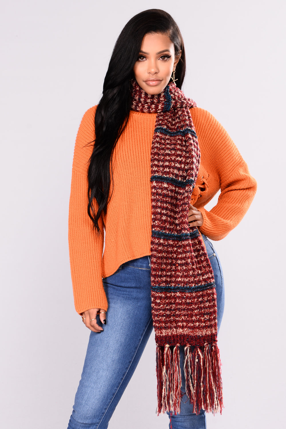 Striped For The Snow Scarf - Burgundy