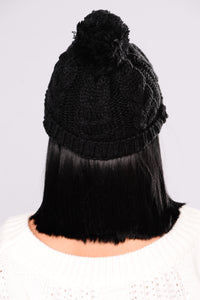 Knit It To Me Beanie - Black Angle 2