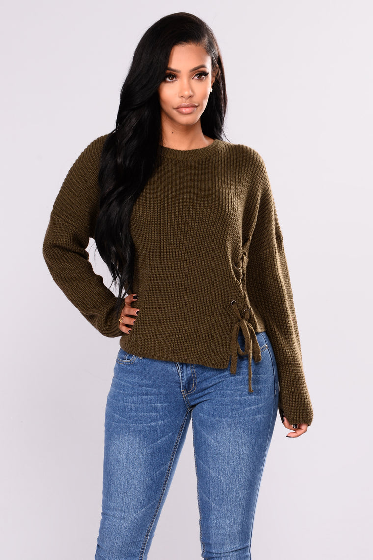 Salrose Lace Up Sweater - Olive