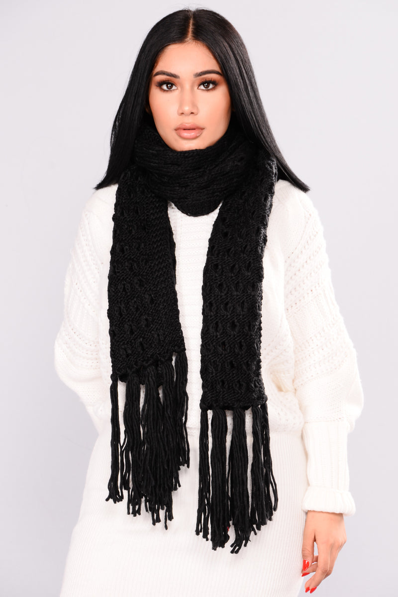 Knit Luv Long Scarf - Black