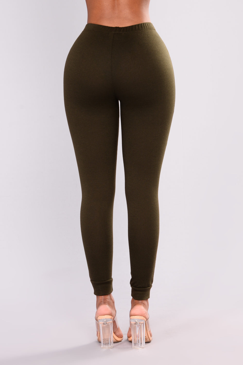 Distressed Terry Leggings - Olive