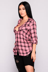 Krissy Plaid Top - Rose Black Angle 4