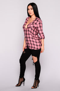 Krissy Plaid Top - Rose Black Angle 5