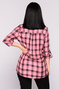 Krissy Plaid Top - Rose Black Angle 3
