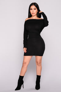 Dolman Daze Mini Dress - Black
