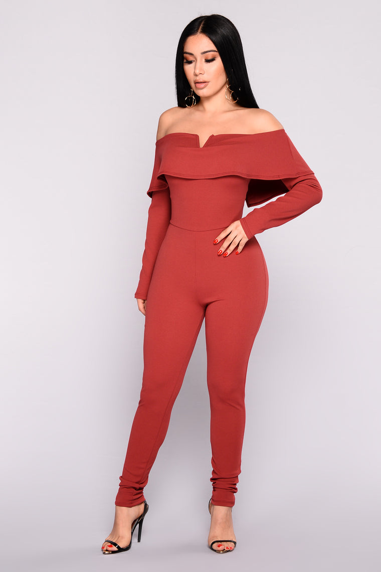 Very V Wire Jumpsuit - Marsala