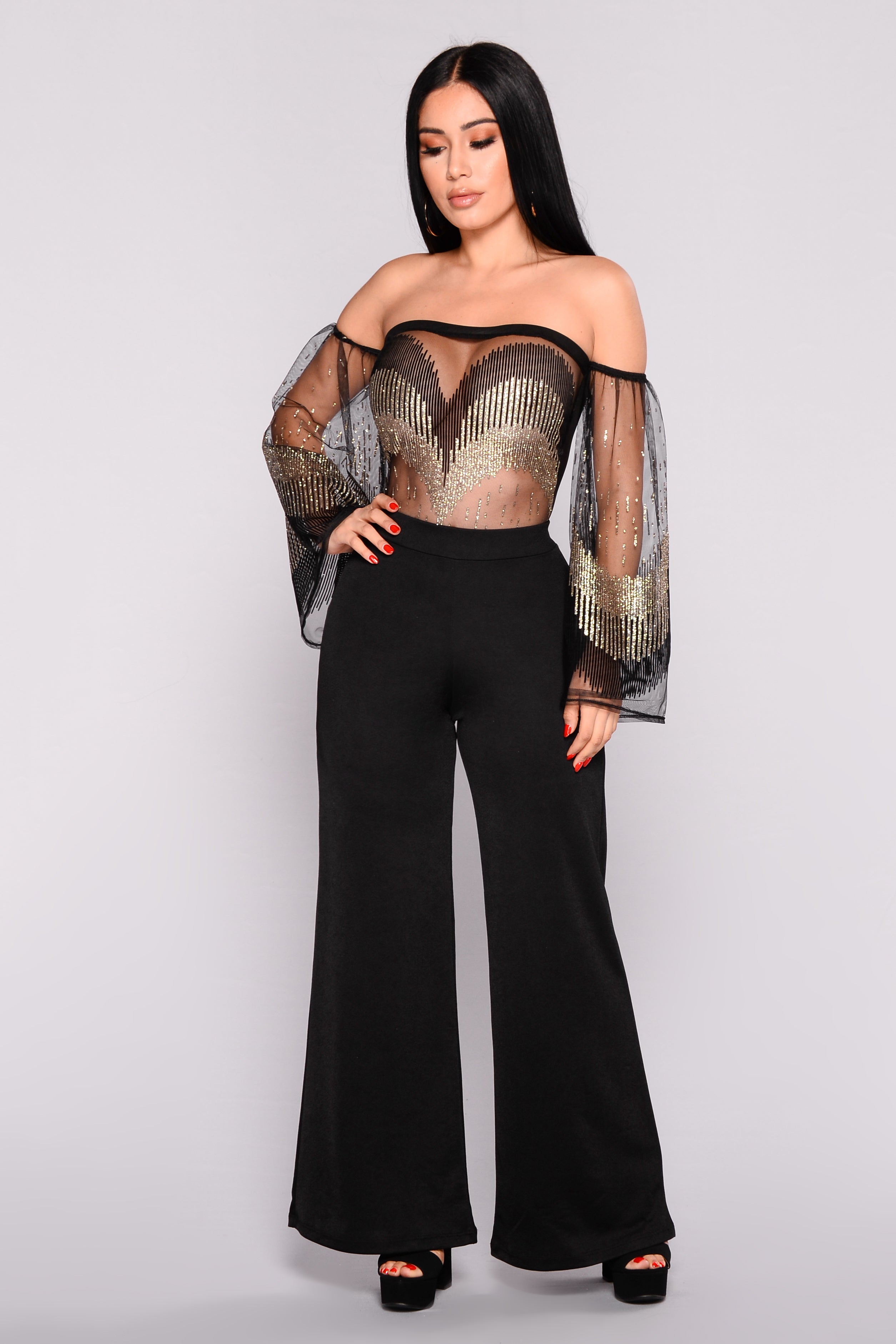 4ec45c1b09 Chleo Off Shoulder Mesh Bodysuit - Black/Gold
