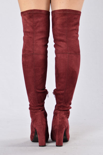 Love Me Long Time Boot - Burgundy