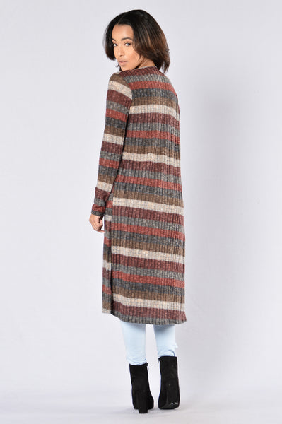 Knit Me Down Cardigan - Burgundy Multi