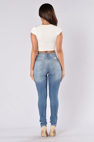 Ripped Down Jeans - Medium Blue
