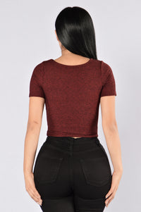 Sweet Tooth Top - Burgundy Angle 3