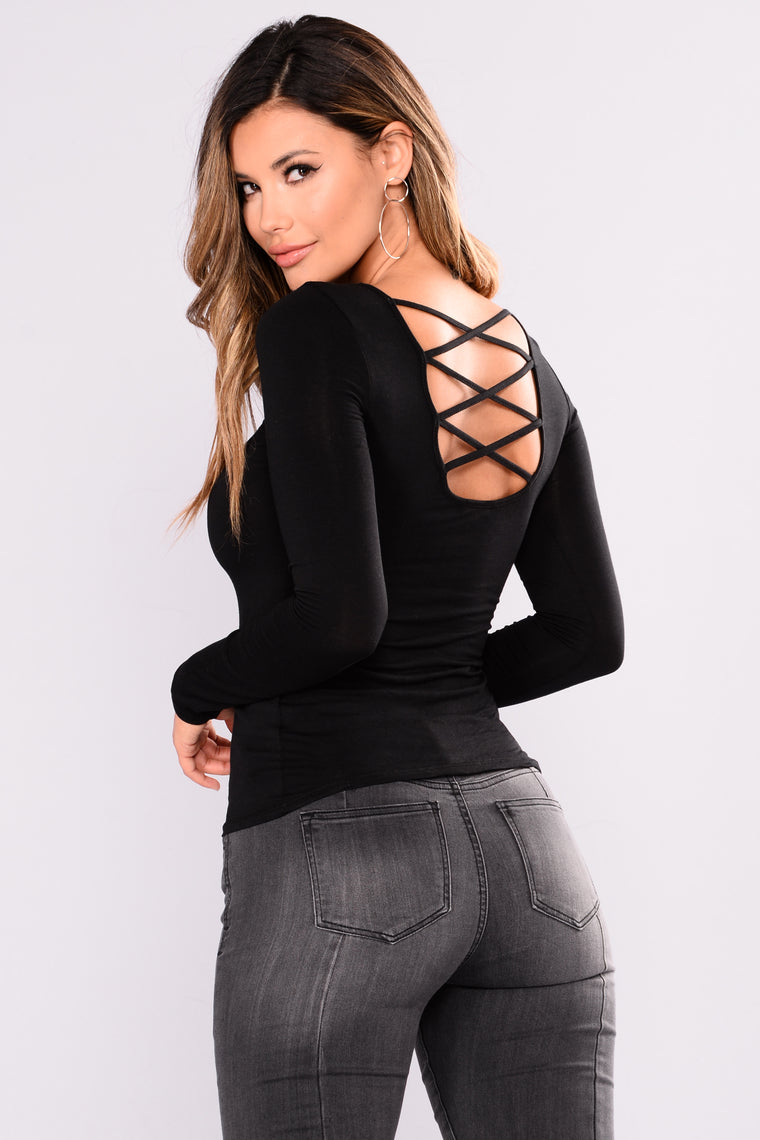 Arabella Long Sleeve Top - Black