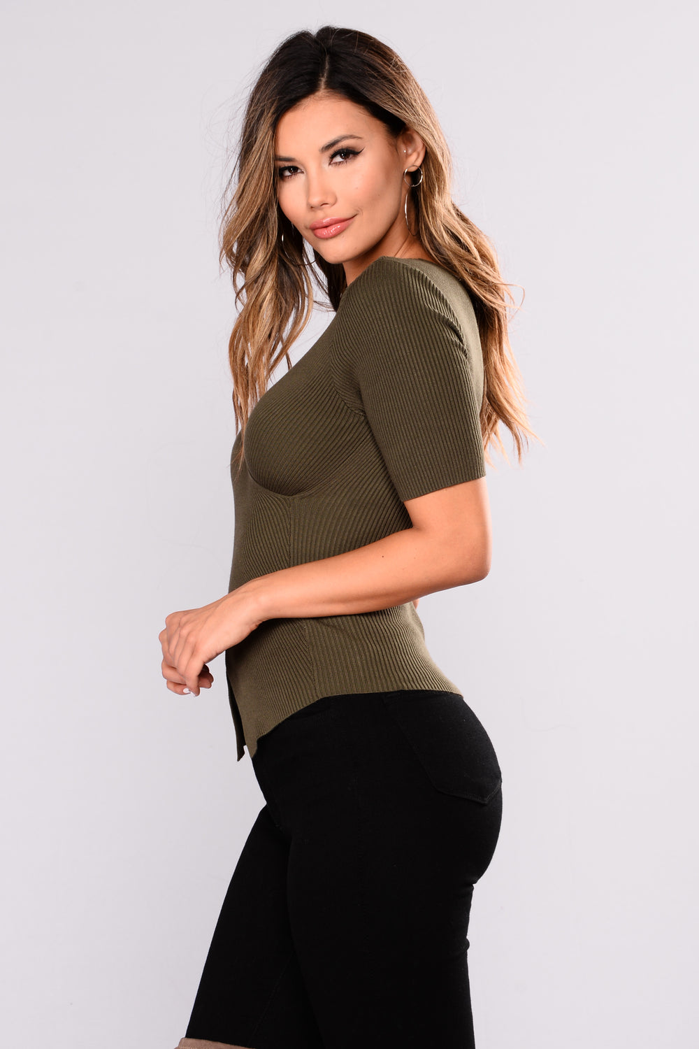 Tricia Wrap Front Ribbed Top - Olive