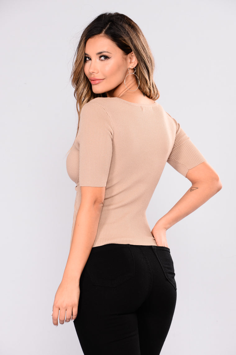 Tricia Wrap Front Ribbed Top - Khaki