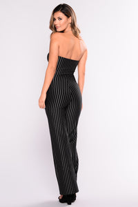 Money In The Bank Striped Jumpsuit - Black/White