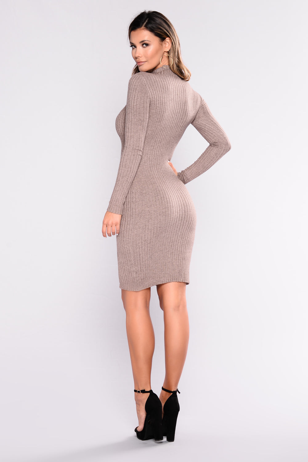 Perfect Timing Ribbed Dress - Mocha